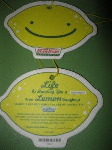 Krispy Kreme Free Lemon Doughnut Coupon